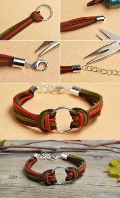 Like the suede cord bracelet? Diy Bracelets Easy, Braided Bracelets, Cord Bracelets, Handmade Bracelets, Leather Bracelets, Leather Jewelry, Wire Jewelry, Jewelry Crafts, Beaded Jewelry