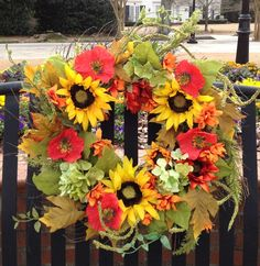 """- Beautiful 24"""" Spring Sunflower Wreath with Sunflowers & Hydrangea Clusters - Filled with Bright Colored Orange & Yellow Sunflowers with Red Poppy Flowers - Built on a Sturdy Spiral Base & filled wit"""