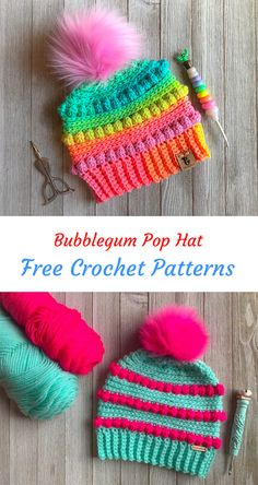 Bubblegum Pop Hat Free Crochet Pattern #crochet #crafts #homemade #handmade #style