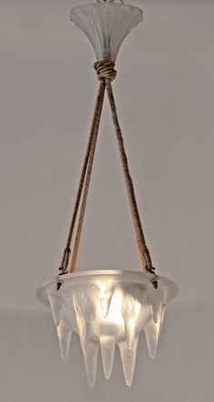 """Lalique Chandelier. 10.75"""" dia. X 7.75"""" deep with 31"""" adjustable length."""