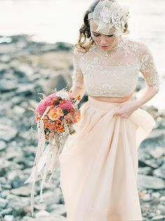 blush pink two piece wedding dress   www.onefabday.com Wedding Dress Separates, Two Piece Wedding Dress, Bridal Separates, Bohemian Wedding Dresses, Long Wedding Dresses, Bridal Dresses, Boho Bride, Bridal Outfits, Wedding Gowns