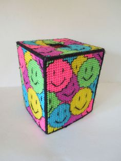 Completed Needlepoint Plastic Canvas Smiley Faces Tissue Box Holder Neon Square