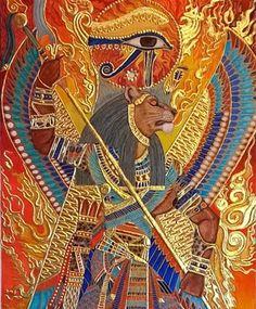 "Detail of ""Sekhmet the Eye of Ra"" before the application of Austrian crystals and lapis-lazuli. Egyptian Mythology, Egyptian Symbols, Egyptian Goddess, Egyptian Art, Egyptian Things, Egyptian Jewelry, Ancient Egypt Art, Ancient Aliens, Ancient Artifacts"