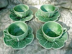 Vintage Majolica Bordallo Pinheiro of Portugal Set 4 Cups Saucers