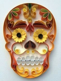 "Mexican Calaveras, the famous ""Sugar Skull"" of the Day of the Dead on quilling to celebrate this beautiful mexican tradition. 3d Quilling, Quilling Patterns, Quilling Designs, Quilling Ideas, Quilled Paper Art, Quilling Paper Craft, Paper Crafts, Mexican Skulls, Mexican Art"