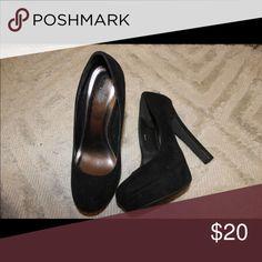 Heels Suede type material, closed in, black, Charlotte Russe, size 8, platform. Charlotte Russe Shoes Heels