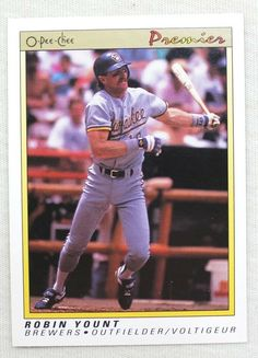 1991 O-Pee-Chee Premier Baseball 131 Robin Yount Milwaukee Brewers #MilwaukeeBrewers Milwaukee Brewers, Robin, Baseball Cards, Store, Ebay, Storage, Robins, European Robin, Shop