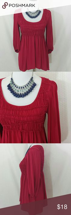 """Max Edition Berry Peasant Blouse 3/4 sleeve Max Edition Berry Peasant Blouse 3/4 sleeve,  super stretchy,  24.5 """" long,  17"""" long sleeve,  pull over,  EUC Max Edition Tops Blouses"""