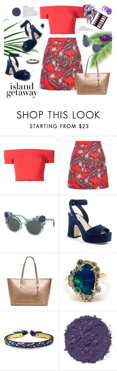 """""""Leave it"""" by aangeles-mendoza ❤ liked on Polyvore featuring Alice + Olivia, House of Holland, Miu Miu, Michael Kors, Kimberly McDonald, Aurélie Bidermann, Illamasqua and By Terry"""