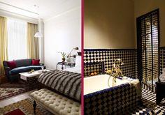 leather and mohair sofa... tiled bathroom... metal shower door... swoon