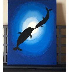 40 Best Canvas Painting Ideas For Beginners - Art Painting Cute Canvas Paintings, Easy Canvas Painting, Diy Canvas Art, Painting & Drawing, Buy Canvas, Acrylic Canvas, Canvas Ideas, Dolphin Painting, Dolphin Art