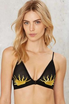 Nasty Gal Walking On the Sun Embroidered Bra