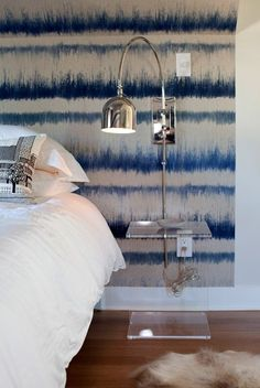 Shibori  makes a nice backdrop for the bed
