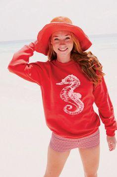 Red Sweatshirt White Sea Horse Nautical beach coast by Royalkane, $19.99