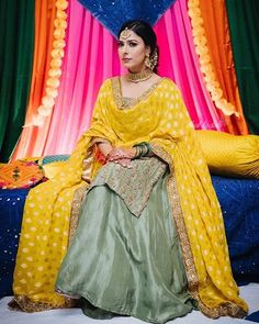 Looking for something comfy yet super chic for your sangeet? This sharara in such gorgeous vivid colours, is perfect to dance the night… Salwar Suits Party Wear, Punjabi Salwar Suits, Salwar Kameez, Sharara, Anarkali, Lehenga, Kurti, Saree, Punjabi Suits Designer Boutique