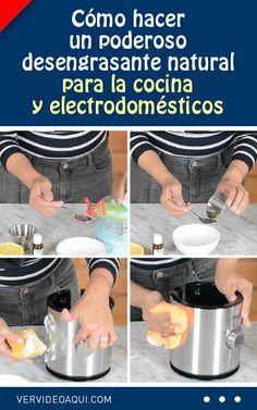 Cómo hacer un poderoso desengrasante natural para la cocina y electrodomésticos #limpiador #limpieza #hogar #consejos