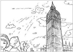 Big Ben colouring page, London colouring page