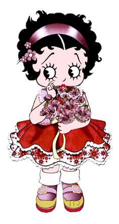 Little Betty holding a bouquet of flowers ~ #bettyboop ✿⊱╮