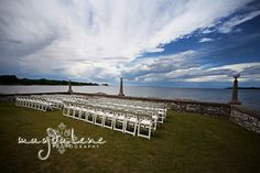Outdoor wedding location along the water at the Alpine Resort in Egg Harbor, WI, Door County. #dc #bride #water #outdoor
