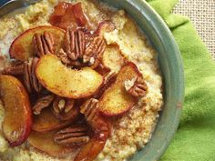 Breakfast - polenta (corn), ripe peaches, maple syrup or allowed syrup ...