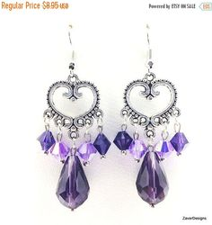SALE Purple Crystal Earrings Heart Earrings by ZaverDesigns