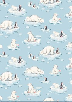 Polar Bear - It wouldn't be a Cath Kidston Christmas without nostalgic novelty prints to make you smile! See polar bears and penguins swimming around in their icy home - here's hoping for a white Christmas!