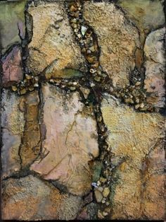 Mixed Media Geologic Abstract, Crevice Carol Nelson Fine Art, painting by artist Carol Nelson