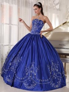 Navy Blue Quinceanera Dress Strapless Satin Embroidery