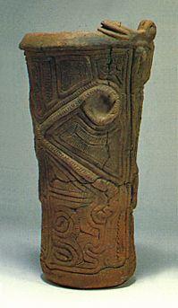 Deep clay pot. Jomon period. Yamanashi Japan.  BC.3,500 - BC.2,500.
