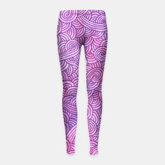 """Pink and purple zentangles"" Girl's Leggings by Savousepate on Live Heroes #leggings #leggins #pants #kidsapparel #kidsclothing #pattern #graphic #modern #abstract #girly #doodles #zentangles #scrolls #spirals #arabesques #pink #purple #neon #flashy"