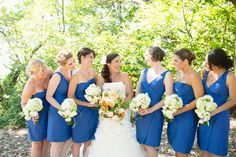 Bright Blue Bridesmaid Dresses. Wedding Planning by Simply Wed.  www.simplywed.com