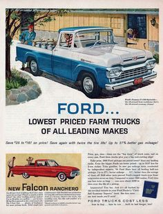 A gallery of vintage print and TV advertisements for the 1960 Ford Motor Company new car and truck lineup. Featuring the Falcon, Galaxie, and Thunderbird. Vintage Pickup Trucks, Old Ford Trucks, Diesel Trucks, Ford Diesel, Lifted Trucks, 4x4 Trucks, Antique Trucks, Ford 4x4, Ford Bronco