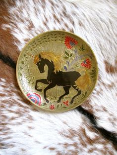 """Vintage Decorative Brass & Enamel Plate with Unicorn from India - 8.5"""" diameter"""