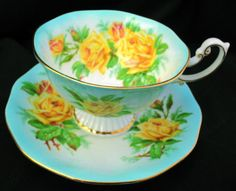 ROYAL-ALBERT-RAINBOW-GRAND-PEDESTAL-TEA-CUP-AND-SAUCER-YELLOW-ROSE