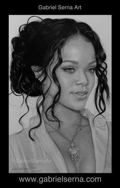 Pencil Drawing - Rihanna - by - Gabriel Serna