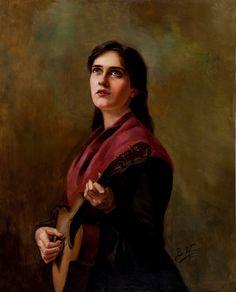 Berthe Worms, Canção sentimental, 1904. Óleo sobre tela. Meio que meu retrato mulher.