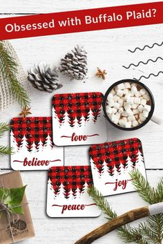 Obsessed with buffalo plaid? Add these drink coasters with holiday quotes to your home. The buffalo plaid will add some bright holiday cheers to your holiday home decor. #paisleygrovegifts #buffaloplaid #buffalocheck #coasters #holidaydecorating Christmas Party Themes, Indoor Christmas Decorations, Christmas Table Settings, Christmas Drinks, Christmas Quotes, Christmas Projects, Holiday Decor, Christmas Gifts For Women, All Things Christmas