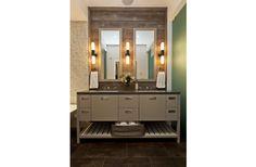 Fiorella Design - Rustic bathroom with wood backsplash