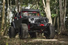 Black and red Jeep.