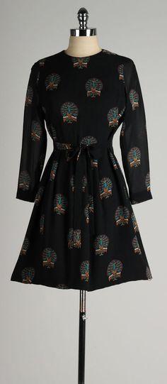 vintage 1960s dress . black silk crepe . by millstreetvintage