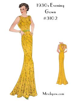 1930s Ladies' Cowl Neck Evening Gown #3102 vintage sewing pattern from mrsdepew.com.