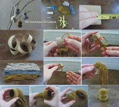 Kleine mutsjes. Tip: Maak draadjes van ongeveer 15cm.