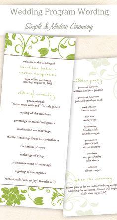 Simple & ModernWedding Program Wording & Template #wedding #program #ideas