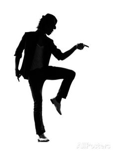 Full Length Silhouette Of A Young Man Dancer Dancing Funky Hip Hop R And B Art Print