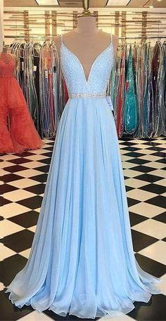 Light Blue Prom Dress Deep V Neckline, Back To School Dresses, Prom Dresses For Teens, Pageant Dress,Graduation Party Dresses Cute Prom Dresses, Wedding Party Dresses, Dress Prom, Maxi Dresses, Prom Dresses For Teens Long, Light Blue Prom Dresses, Light Blue Long Dress, Teen Dresses, Casual Dresses