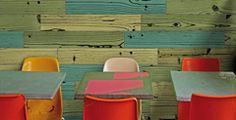 UonUon porcelain tile by 14 OraItaliana. Inspiration from Andy Warhol's famous screened art, the uonuon collection features dynamic colors in a variety of wood patterns. Design Studio, E Design, Interior Design, Beautiful Houses Interior, Beautiful Homes, Wood Grain Tile, Wood Tiles, Tile Flooring, Restaurants