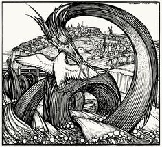 The Lambton worm now became the terror of the whole country side.  Herbert Cole, from Fairy gold, by Ernest Rhys, London, New York, early 20th century (illustrations dated 1906, book reprinted in 1919, 1922…).