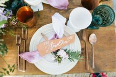 Boho tablescape with leather name cards