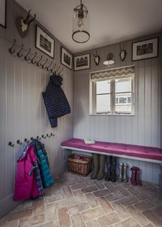 Inspiring Wonderful Inspiration With 25 Boot Rooms Design and Mudrooms Idea Some people might sound familiar with the boot room and mudroom. Boot room and mudroom is a storage that can not be separated. And a separate bedroom . Brick Tiles, Brick Flooring, Flooring Ideas, French Door Decor, Herringbone Tile Pattern, Boot Room Utility, Hallway Storage, Boot Room Storage, Cloakroom Storage