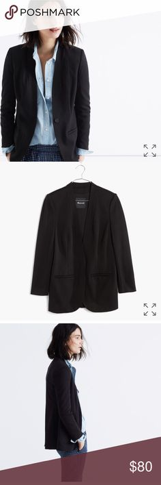 Madewell Tribune collarless black blazer jacket PRODUCT DETAILS With clean lines and streamlined details, this sleek blazer is a true closet hero. Best part? It has a lean tailored-for-you fit that will dress up just about anything.  True to size. Viscose/polyamide/elastane. Machine wash. Import. Item F5576. Madewell Jackets & Coats Blazers